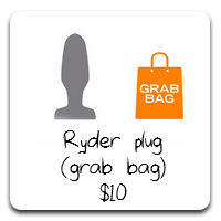 "Tantus Ryder is a great plug for those who are accustomed to a finger or two and want something comfortable to wear. Max width of 1.5"". The Tantus Grab Bag allows you to get great items made from pure silicone at affordable prices by letting Tantus pick the color - sometimes it's even a mix of colors!"