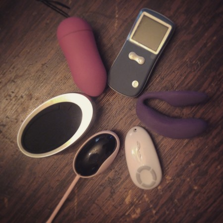 L'amourose MAE+ on the left, Marc Dorcel Secret Remote Control Vibe up top, and the We-Vibe 4 Plus on the right