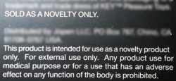 Novelty disclaimer on a sex toy box