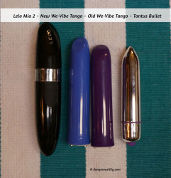 We-Vibe Tango: Comparison of the Lelo Mia 2, new Tango, old Tango, and a Tantus bullet vibe.
