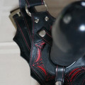 Tantus Black Widow Connoisseur Harness - Paired with a black Tantus dildo