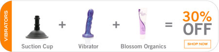 Black Friday sale at Tantus - Buy the suction cup attachment plus any vibrator and a bottle of Blossom Organics lube, get 30% off everything
